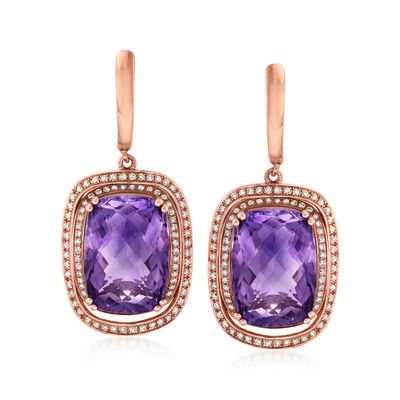 C. 1990 Vintage 11.50 ct. t.w. Amethyst and .60 ct. t.w. Diamond Drop Earrings in 14kt Rose Gold