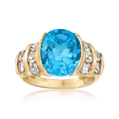 C. 1990 Vintage 6.20 Carat Blue Topaz and 1.00 ct. t.w. White Topaz Ring in 10kt Yellow Gold, , default