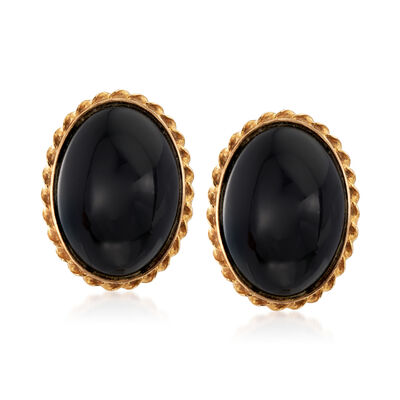 C. 1980 Vintage 17.5x12.5mm Onyx Clip-On Earrings in 14kt Yellow Gold, , default