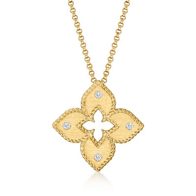 """Roberto Coin """"Venetian Princess"""" 18kt Yellow Gold Flower Necklace with Diamond Accents"""