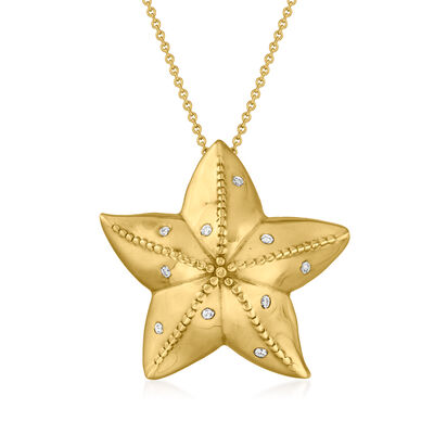 C. 1980 Vintage .20 ct. t.w. Diamond Star Slide Pendant Necklace in 14kt Yellow Gold