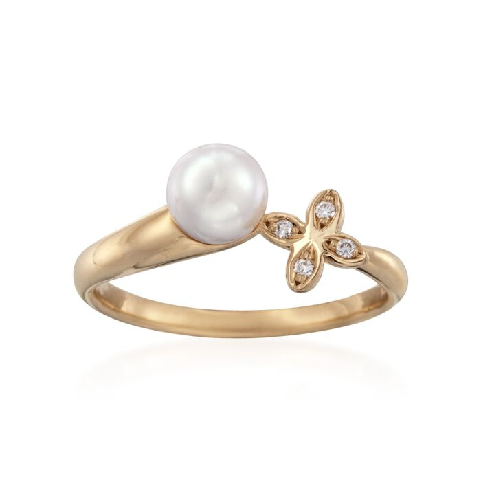 Mikimoto 6mm A+ Akoya Pearl Floral Ring with Diamond Accents in 18kt Yellow Gold