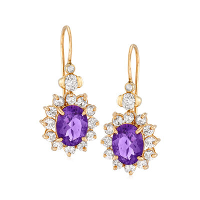 C. 1980 Vintage 3.00 ct. t.w. Amethyst and 1.60 ct. t.w. Diamond Drop Earrings in 14kt Yellow Gold, , default