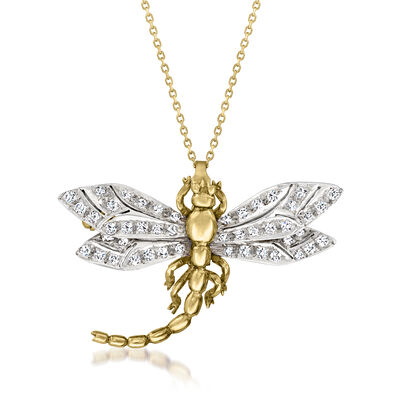 C. 1980 Vintage .45 ct. t.w. Diamond Dragonfly Pin/Pendant Necklace in 18kt Two-Tone Gold