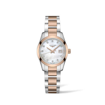 Longines Conquest Classic Women's 29mm Stainless Steel and 18kt Rose Gold-Plated Watch