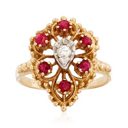 C. 1970 Vintage .35 ct. t.w. Ruby and Diamond Accent Cluster Ring in 14kt Yellow Gold, , default