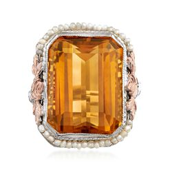 C. 1950 Vintage 12.20 Carat Citrine and Cultured Seed Pearl Ring in 14kt Two-Tone Gold, , default