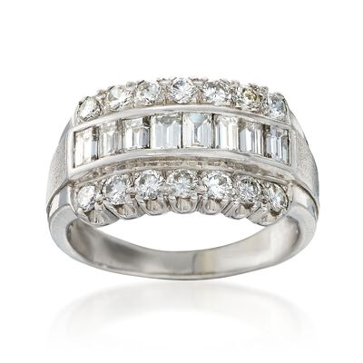 C. 1980 Vintage 1.85 ct. t.w. Diamond Ring in 14kt White Gold