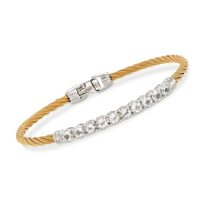 "ALOR Burano 3.00 Carat Total Weight White Topaz Yellow Cable Bracelet with 14-Karat White Gold. 7"", , default"