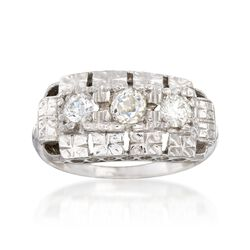 C. 1950 Vintage .58 ct. t.w. Diamond Floral Engraved Ring in 14kt White Gold, , default