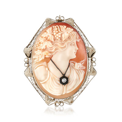 C. 1960. Vintage Oval Pink Shell Cameo Pin Pendant with Diamond Accents in 14kt White Gold, , default
