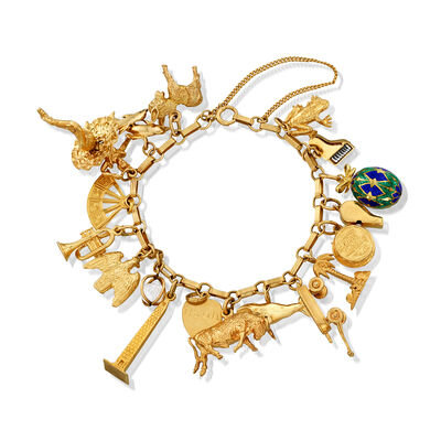 C. 1980 Vintage 14kt Yellow Gold Novelty Charm Bracelet