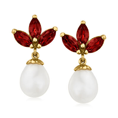 C. 1990 Vintage 7.5x10mm Cultured Pearl and 1.80 ct. t.w.  Garnet Earrings in 14kt Yellow Gold