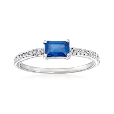C. 1970 Vintage .70 Carat Sapphire Ring with .15 ct. t.w. Diamonds in 14kt White Gold