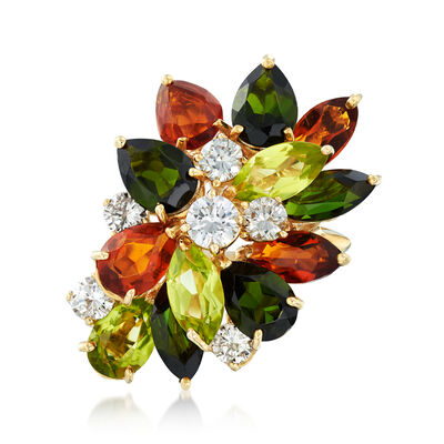 C. 1970 Vintage 5.60 ct. t.w. Multi-Stone and 1.00 ct. t.w. Diamond Cluster Ring in 18kt Yellow Gold, , default