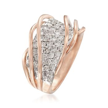 Simon G. 1.35 ct. t.w. Diamond Twist Ring in 18kt Rose Gold, , default