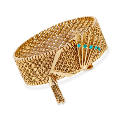 C. 1950 Vintage 18kt Yellow Gold Wide Woven Link Tassel Bracelet with Turquoise, , default