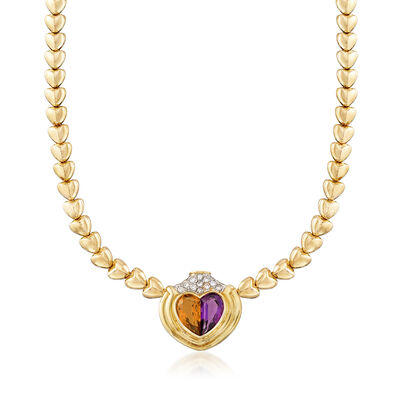 C. 1980 Vintage 7.30 ct. t.w. Multi-Gemstone Heart Necklace in 18kt Yellow Gold , , default