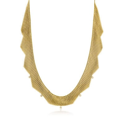 "C. 1980 Vintage Tiffany Jewelry ""Elsa Peretti"" .25 ct. t.w. Diamond and 18kt Yellow Gold Mesh Necklace"