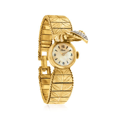 C. 1910 Vintage .30 ct. t.w. Diamond Foldover Watch in 14kt Yellow Gold