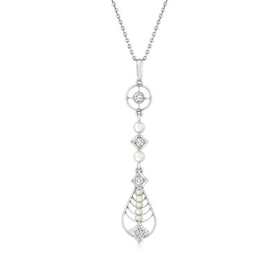 C. 1950 Vintage 2-3mm Cultured Pearl and .20 ct. t.w. Diamond Pendant Necklace in Platinum
