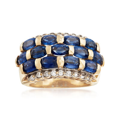C. 1990 Vintage 3.50 ct. t.w. Sapphire and .25 ct. t.w. Diamond Ring in 14kt Yellow Gold, , default