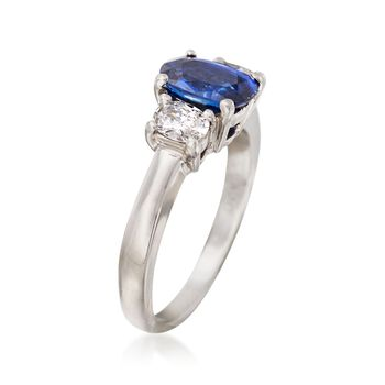 C. 2000 Vintage 1.25 Carat Sapphire and .40 ct. t.w. Diamond Ring in Platinum. Size 5.5