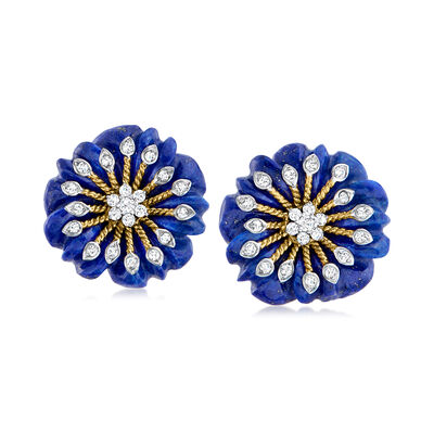 C. 1990 Vintage Lapis and .48 ct. t.w. Diamond Flower Earrings in 14kt Yellow Gold
