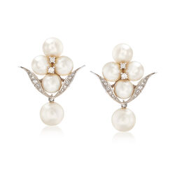 C. 1970 Vintage Cultured Pearl and .35 ct. t.w. Diamond Drop Earrings in 14kt White Gold, , default