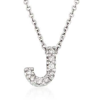 "Roberto Coin Tiny Treasures Diamond J Necklace in 18-Karat White Gold. 16"", , default"