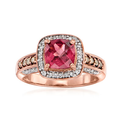 C. 1990 Vintage 1.35 Carat Rhodolite Garnet and .41 ct. t.w. White and Brown Diamond Ring in 14kt Rose Gold