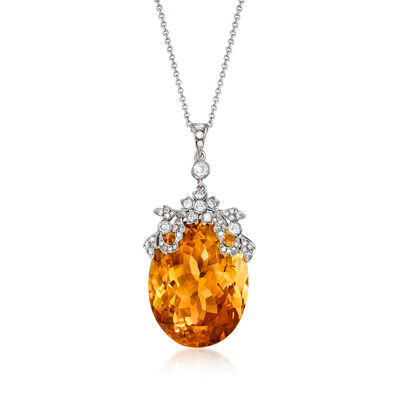 C. 1990 Vintage 38.80 Carat Citrine and .50 ct. t.w. Diamond Pendant Necklace in 18kt White Gold
