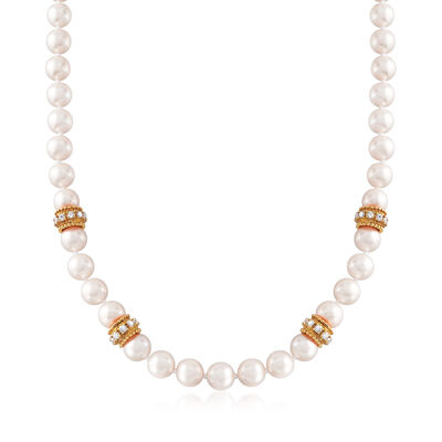 C. 1990 Vintage Cultured Pearl and 2.80 ct. t.w. Diamond Necklace with 14kt Yellow Gold