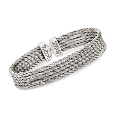 "ALOR ""Classique"" Gray Multi-Strand Stainless Steel Cable Cuff"