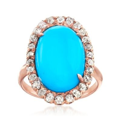 C. 1930 Vintage Simulated Turquoise and .55 ct. t.w. Diamond Ring in 14kt Rose Gold, , default