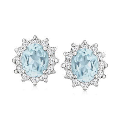 C. 1980 Vintage 4.50 ct. t.w. Aquamarine and 1.00 ct. t.w. Diamond Earrings in 14kt White Gold