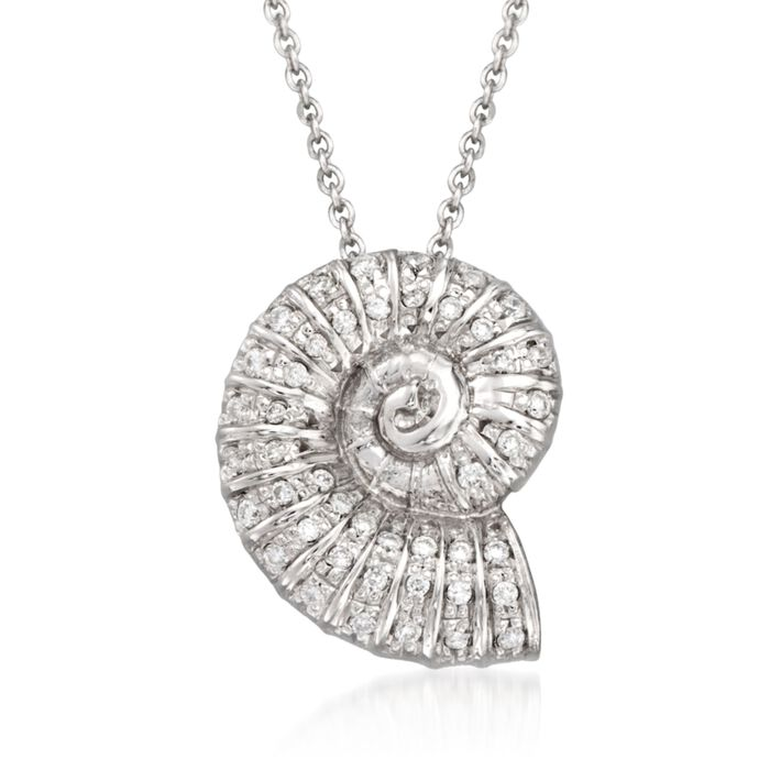 "Roberto Coin Tiny Treasures .18 Carat Total Weight Diamond Seashell Necklace in 18-Karat White Gold. 18"", , default"