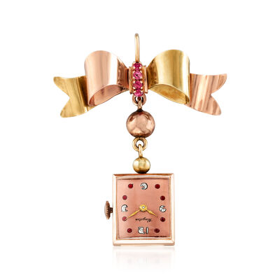 C. 1930 Vintage .35 ct. t.w. Ruby Kingston Bow Pin/Pendant with Watch in 14kt Two-Tone Gold, , default