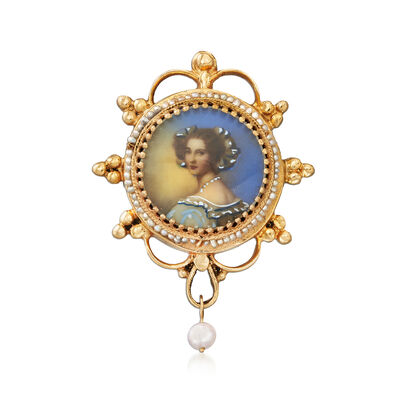C. 1970 Vintage Handpainted Ceramic Portrait Pin/Pendant with Cultured Pearls in 14kt Yellow Gold