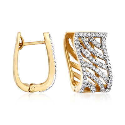 C. 1990 Vintage 1.25 ct. t.w. Diamond Diagonal Hoop Earrings in 18kt Yellow Gold