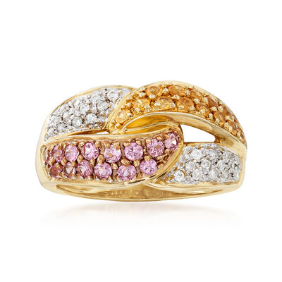 C. 1990 Vintage 1.10 ct. t.w. Multicolored Sapphire and .20 ct. t.w. Diamond Ring in 14kt Yellow Gold, , default