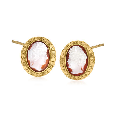 C. 1940 Vintage Red Shell Cameo Earrings in 10kt Yellow Gold