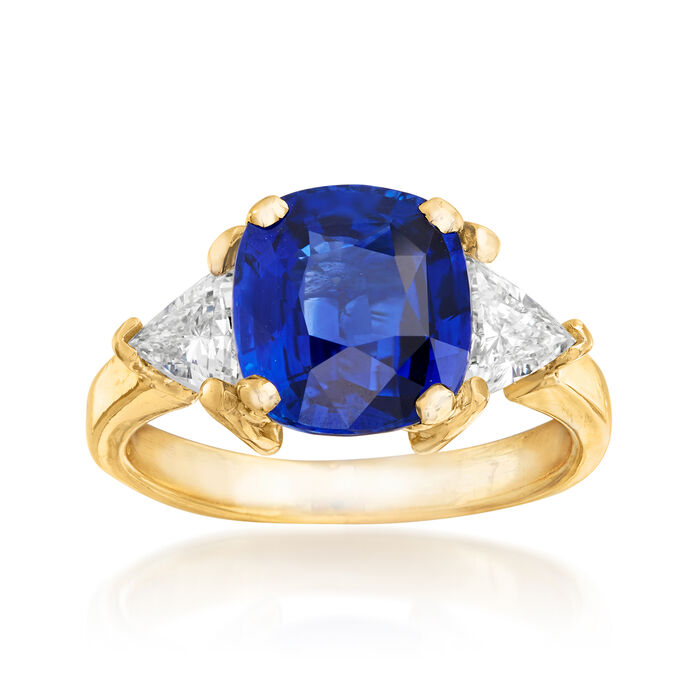 C. 1980 Vintage 3.25 Carat Sapphire and .80 ct. t.w. Diamond Ring in 18kt Yellow Gold