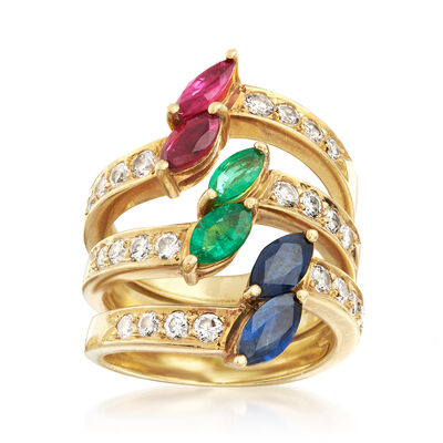 C. 1990 Vintage 2.85 ct. t.w. Multi-Gemstone Jewelry Set: Three Rings in 18kt Yellow Gold