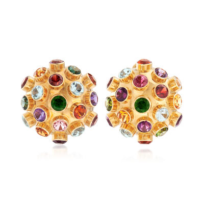 C. 1970 Vintage 12.70 ct. t.w. Multi-Stone Ball Earrings in 18kt Yellow Gold, , default