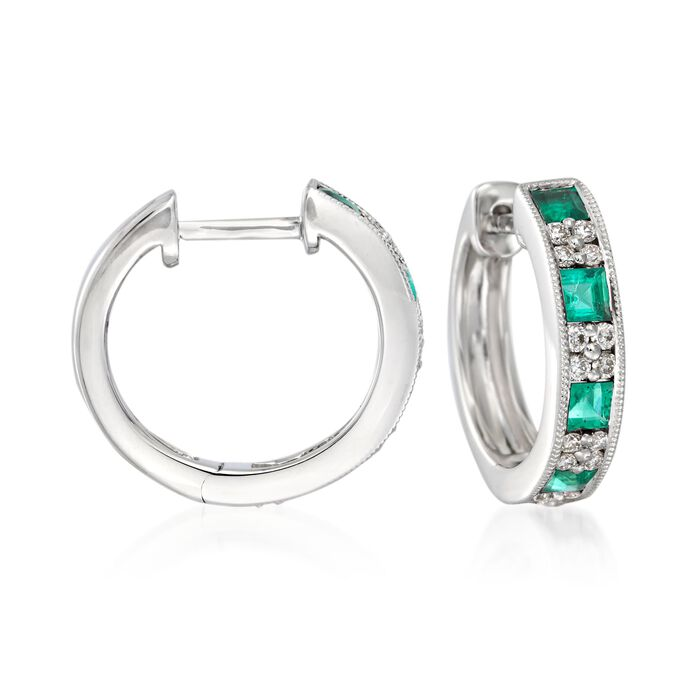 Gregg Ruth .70 Carat Total Weight Emerald and .24 Carat Total Weight Diamond Huggie Hoops in 18-Karat White Gold, , default