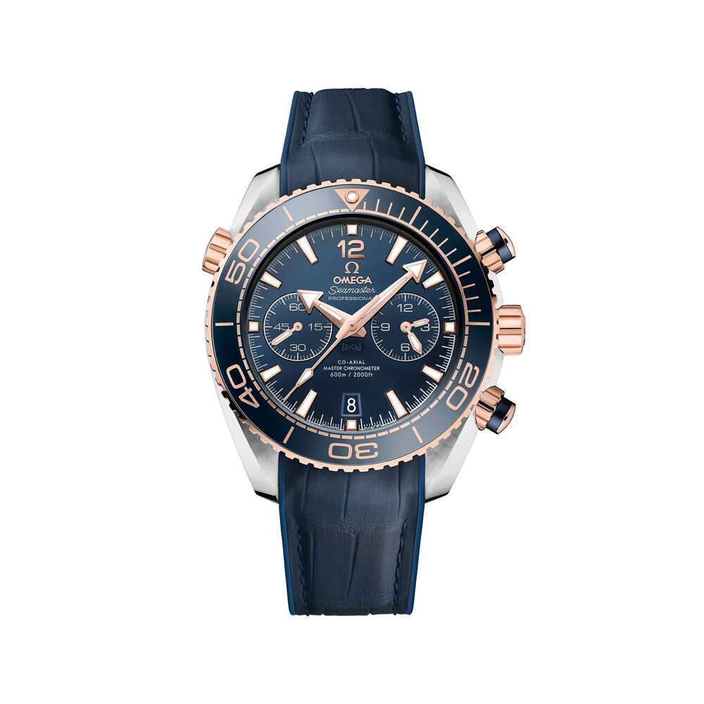 Omega Seamaster Planet Ocean Master Chronometer 45 5mm Men S Auto Chronograph Stainless Steel And 18 Karat Rose Gold Watch With Blue Leather Sidney Thomas