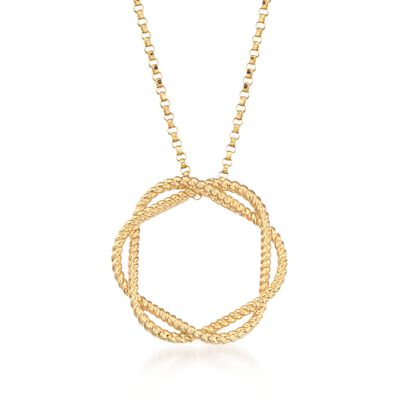 "Roberto Coin ""Barocco"" Circle Pendant Necklace in 18kt Yellow Gold, , default"