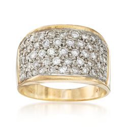 C. 1980 Vintage 1.10 ct. t.w. Pave Diamond Ring in 18kt Yellow Gold, , default