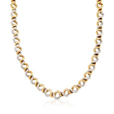 C. 1990 Vintage 2.10 ct. t.w. Diamond Spiral Necklace in 18kt Two-Tone Gold, , default